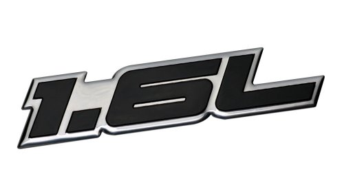 - 1.6L Liter Embossed BLACK on Highly Polished Silver Real Aluminum Auto Emblem Badge Nameplate for Honda Civic LX DX EX Si Del Sol 2 4 door Coupe Sedan D16 D-16 B16 B-16 CRX Acura Integra