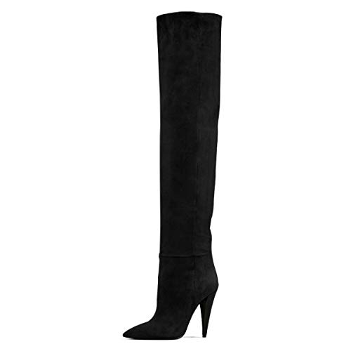 FSJ Women Sexy Thigh High Long Boots Over The Knee Cone High Heels Stretch Dress Shoes Size 7 Black -