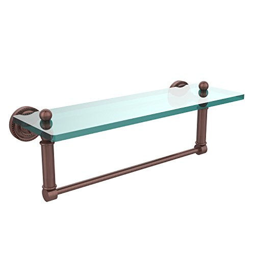 - Allied Brass DT-1TB/16-CA Glass Shelf with Towel Bar, 16-Inch x 5-Inch