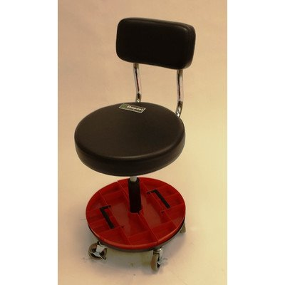 Height Adjustable Tool Trolley with Backrest and Removable Parts Tray
