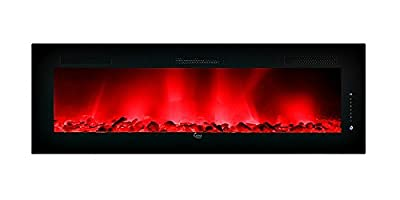 """LED Electric Fireplace Wall Mountable 30"""" x 17"""" Steel Frame - Remote Control Heat, Flame Size and Multiple Color Settings for Flame and Bed Media- 120v Model SCW-30A-cf"""