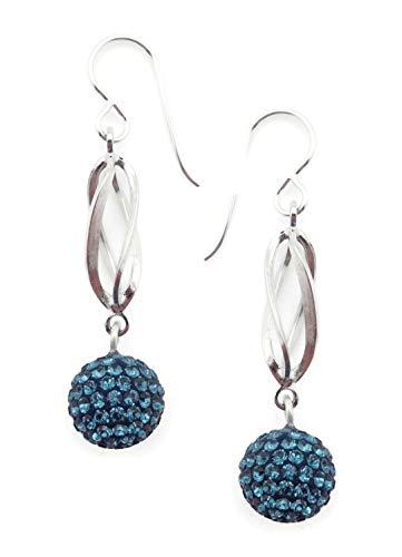 - Patricia Locke Quantum Wave Montana Blue Swarovski Crystal Silvertone Hook Earrings