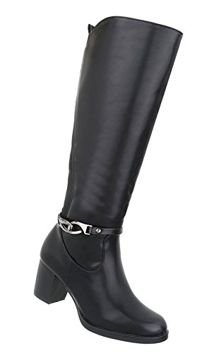 Stiefel Schwarz Deko Damen Schuhe mit XvqBqZw