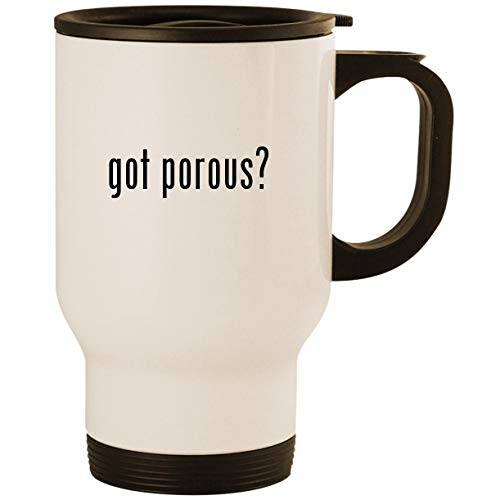 got porous? - Stainless Steel 14oz Road Ready Travel Mug, White - Clay Pens Papermate