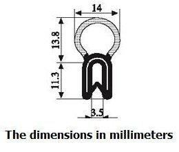 Vertical Bulb Trim Seal Bulb Diameter: 0.55'' Flange Size: 0.039'' to 0.14'' (50 Feet)