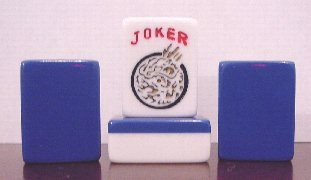 Blue Mahjong (166 Piece Blue And White Mahjong Tiles with Multicolor Design)