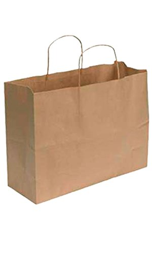 "SSW Basics LLC Kraft Paper Shopping Bag - Large (16""L x 6""D x 12 ½""H) - Case of 100 by SSW Basics LLC"
