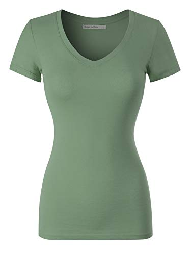 Design by Olivia Women's Basic Solid Multi Colors Fitted Short Sleeve T-Shirt [S-3XL] Fizzy Sage S