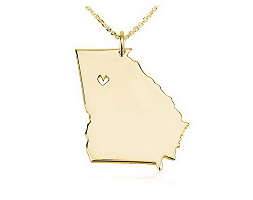 State Necklace Georgia State Charm Necklace 18k Gold Plated State Necklace with a Heart (14 Inches)