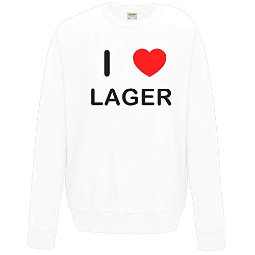 I Love Lager - Extra Large White Sweatshirt - Jumper (Sw-lager)