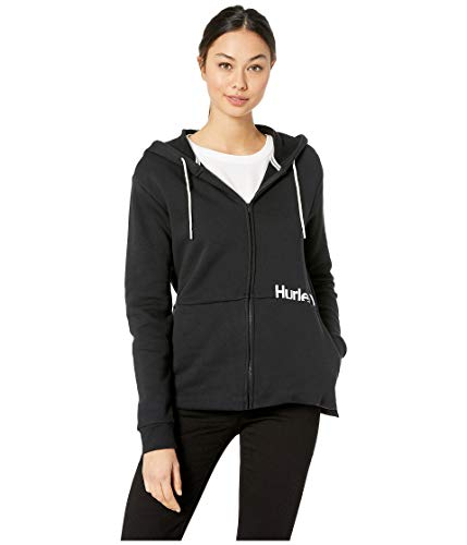 Hurley Women's One and Only Fleece Full-Zip Top Black Small