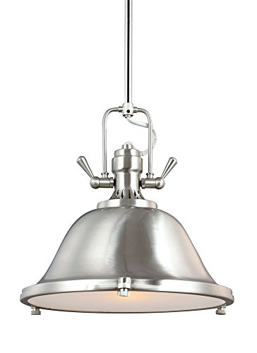 Sea Gull Lighting 6514401-962 Stone Street One-Light Pendant with Satin Etched Glass Diffuser, Brushed Nickel Finish