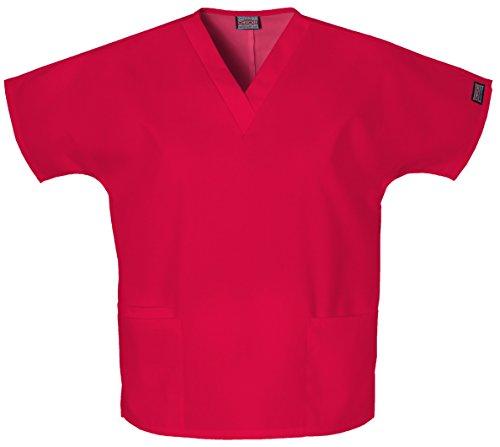 Cherokee Women's V Neck Scrubs Shirt, Red, Medium