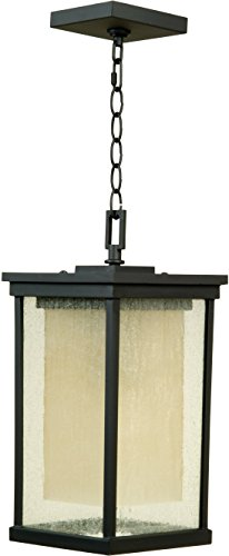 Craftmade Z3721-92-NRG Hanging Lantern with Seeded Glass Shades, Oiled Bronze
