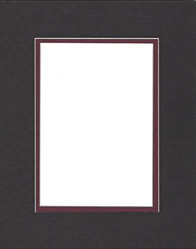 Pack of (2) 24x36 Double Acid Free White Core Picture Mats Cut for 20x30 Pictures in Black and Maroon