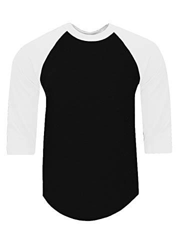 RA0201_XL Baseball T Shirts Raglan 3/4 Sleeves Tee Cotton Jersey S-5XL Black/White 1X -
