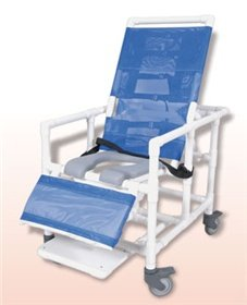 - Healthline Bariatric Reclining Shower Commode Chair, Blue