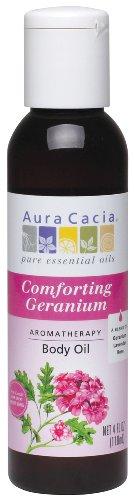Massage Aromatherapy Oil Cacia Aura - Aura Cacia Body Oil, Comforting Geranium, 4 Fluid Ounce