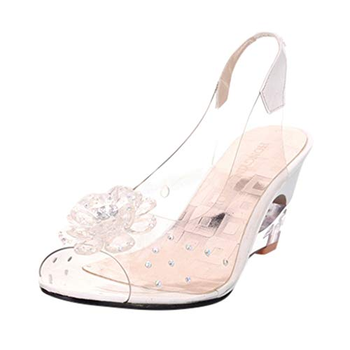 JJLIKER Women Floarl Rhinestone Clear Flatform Wedge Open Toe Sandals Ankle Strap Slingback Slip-On Heels Shoes White