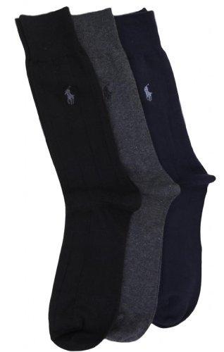 Polo Ralph Lauren Men's 3 Pack Dress Socks Blue/Gray/Black 10-13 ()