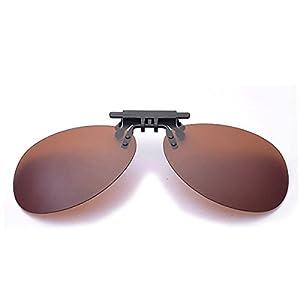 Clip On Sunglasses Men's Titanium Flexible Polarized Lenses Glasses Laura Fairy (C1-Brown, 63)