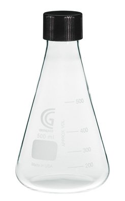 Chemglass CG-1543-05 Series CG-1543 Erlenmeyer Flask with 38-430 GPI Screw Thread Cap, 1000 mL