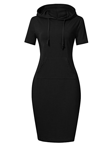 (MISSKY Black Dresses for Women Short Sleeve Pocket Slim Sweatshirt Pullover Hoodie Dress Summer Dresses for Women (L, Black Short Sleeve))