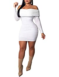 329a3fe1d1 Women s Off Shoulder Bodycon Dress - Head Turner Sexy Sheath Mini Dress