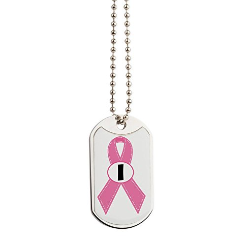 CafePress - Breast Cancer 1 Year Ribbon - Military Style Dog Tag, Stainless Steel with Chain