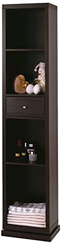 Artiva USA Bella, Home Deluxe, Accent, Sturdy Rotating System, Free-Standing Mirror and Swivel Cabinet Organizer with 4 Shelves and 1 Drawer, 71-Inch, (Hardwood Tall Cabinet)