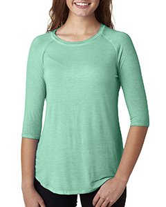 J America Womens Oasis Wash 3/4-Sleeve Tee (JA8232) -SPEARMINT -S