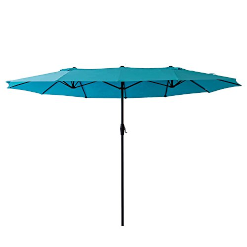Umbrella 9 Market Base (FLAME&SHADE 15' Double Sided Twin Outdoor Patio Market Umbrella for Large Balcony Deck or Terrace Garden Shade, Rectangle, Aqua Blue)