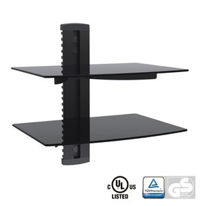 Aluminum/Tempered Glass DVD Mount Double Deck Black DVD-212