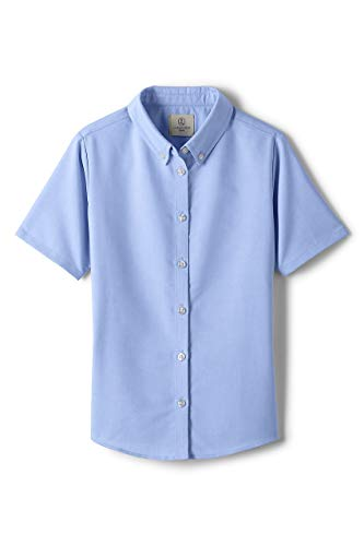 Lands' End School Uniform Girls Short Sleeve Oxford Dress Shirt Blue