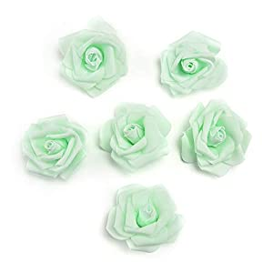 FDJHD Artificial Pe Foam Roses Flowers Heads for Fake Flower Home Wedding Decoration Artificial Flower Scrapbooking Kissing Balls Fake Flower 20pcs 7cm (Mint Green) 89