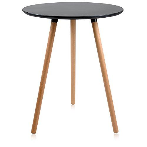 Krei Hejmo Round Dining Table with Wood Legs LINIO (Black) by krei hejmo