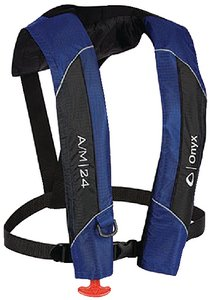 Onyx A/M-24 Automatic/Manual Inflatable Life Jacket, Blue - Inflatable Pfd Vest