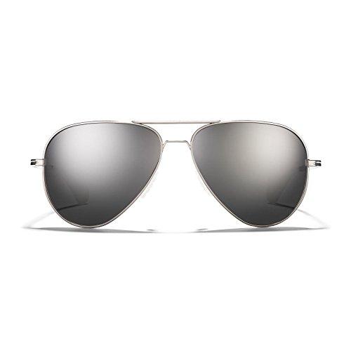 ROKA Phantom Ti Performance Polarized Aviator Sunglasses for Men and Women (Silver Frame - Carbon Thermo Arctic Mirror Polarized, - Sunglasses Roka