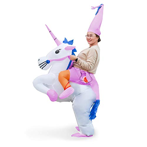 Linsion Inflatable Unicorn Costume Suit Halloween Cosplay Fantasy Air Blow Up Costume Adult/Kids(Adult) -