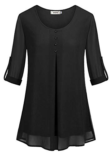 BEPEI Plus Size Blouses for Women,Summer Long Roll Tab Sleeve T Shirts Layered Chiffon High Low Hem Oversized Tunic Tops Rounded Neck Breezy Clothing Vacation Beach Holiday Wedding Going Out (Chiffon Gathered)