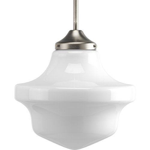 (Progress Lighting P5195-09 School House One Light Pendant, Brushed Nickel Finish with White Opal Glass)