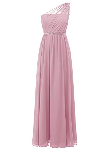 ALAGIRLS One Shoulder Chiffon Bridesmaid Dresses Long Wedding Party Gowns With Beads Blush US14