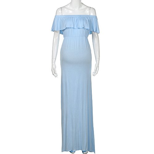 Yeefant Summer Blue Casual Solid Women Shoulder Props S Off Pregnant for Nursing Dress Cotton Nursing Light Long Photography HY4nxqHra