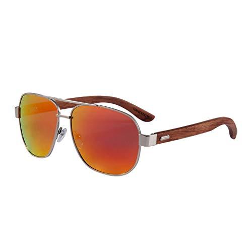 bambú clásicas UV400 Color Gray Madera Red Unisex bambú de Gafas polarizadas sol de conducción Gafas Gafas de RtxgwqFq