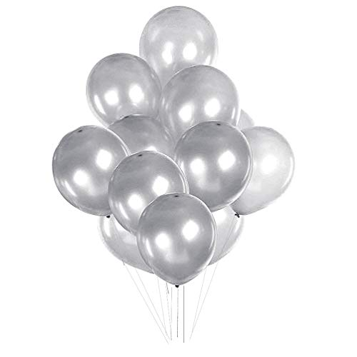 AZOWA Silver Latex Balloons 12 inch Grey Party Balloon Decorations Pack of 100 Great for Birthday Party Wedding Baby Shower Anniversary -