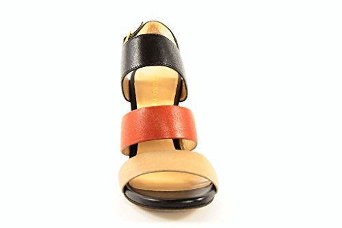 Multicolor Rot Vestir Piel de Beige Premi Sandalias Lisa Bruno Schwarz Para Mujer de xq1Pz4