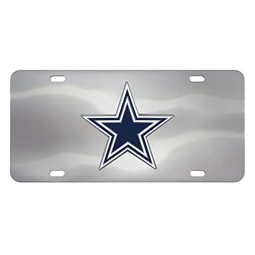 (Fanmats NFL Dallas Cowboys Die Cast License Platedie Cast License Plate, Chrome, 6