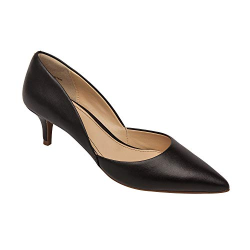 (Pic & Pay | Hailey | Leather Suede Kitten Heel Pointy Toe D'Orsay Pumps Black Leather 7M )