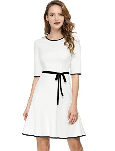 lf Sleeve Piped Contrast Trim Ruffled Hem A-line Dress XL White ()