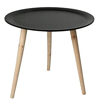 Retro Beistelltisch Rund 48 Cm Schwarz Holz Tisch Couchtisch